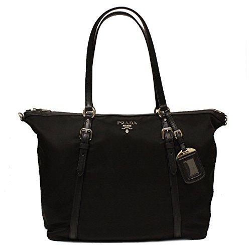 e11d95f2b298 Prada B4253M Nero Black Tessuto Soft Calf Nylon and Leather Shopping Tote  Bag - SHOP HANDBAG BOUTIQUE