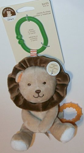 Child of Mine Chime and Chew Soft Plush - Brown Lion with Teething Ring and Chime - 1