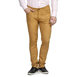 Ruace Men Slim Fit dark Camel Corduroy Trouser