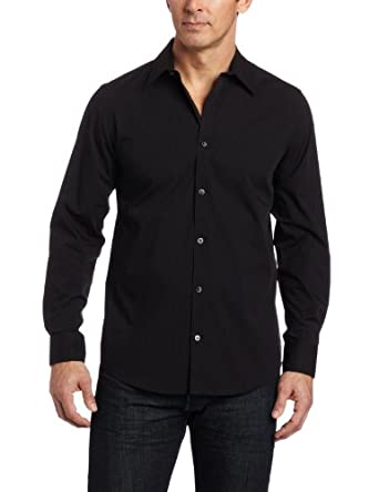 Calvin Klein Men's Mini Stripe Poplin Free Fit Woven Shirt, Black Carbon, Small