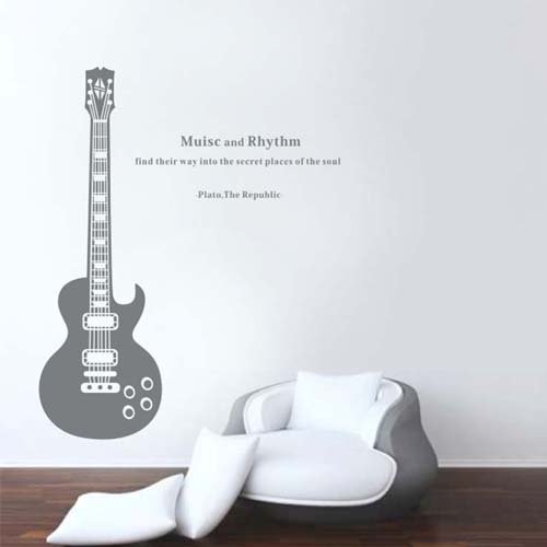 Removable Wall Decals Sticker Guitar Guitarist Music And Rythm Bedroom Wall Art Wallpaper Murals front-668343