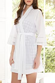 Limited Collection Pure Cotton Crochet Dressing Gown [T37-1914-S]