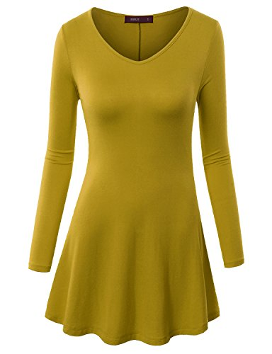 Doublju Women Day-to-Night Flare Skirt 3/4 Sleeve Tunics MUSTARD,M