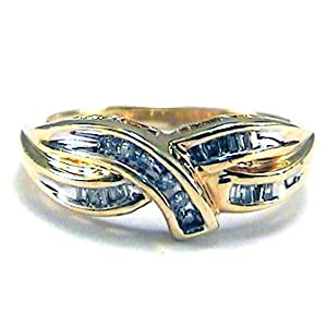Baguette/Round Diamond Right Hand Ring 10k gold