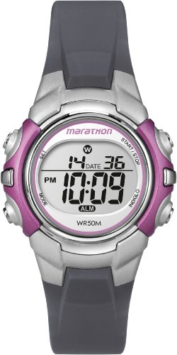 Timex Sport Marathon Mid Size, LCD Display, Grey & Silver Resin Strap, Pink Accents - T5K646