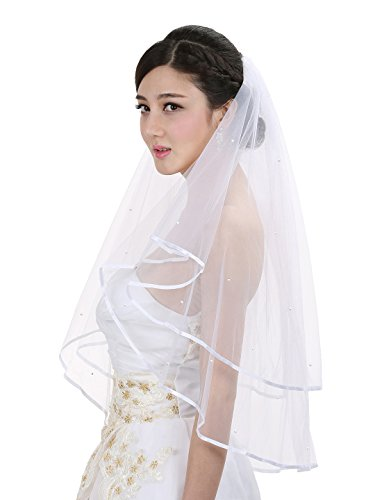 2T 2 Tier Ribbon Edge Center Gathered Rhinestone Crystal Bridal Wedding Veil - Ivory Elbow Length 30