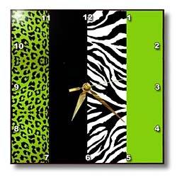 Janna Salak Designs Lime Green Black White Zebra Wall Clock