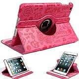 Global Hot Pink /Rose Ipad Mini 360 Degrees Rotating Stand Cute Magic Girl Cartoon Smart Cover Shell Pu Leather Case for Apple Ipad mini