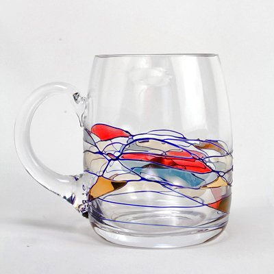 Set Of Two (2) - Romanian Crystal Barware - Cobalt Blue Swirl/Stained Glass Pattern - Milano Design - 20 Oz Beer Mug Crystal Glasses (Romanian Beer compare prices)