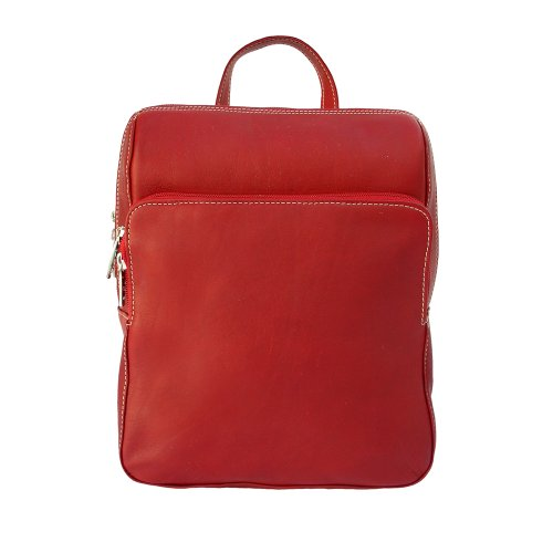 B000XVG1BI Piel Leather Slim Front Pocket Backpack, Red, One Size