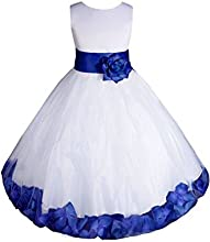 HTYS Wedding Pageant Flower Petals Girl White Dress with Bow Tie Sash HY061