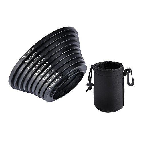 ULATA Filter Step Up Rings Kit With Lens Pouch Aluminum Lens Adapter Ring 40.5-49-52-55-58-62-67-72-77-82mm 49mm-82mm For Canon For Nikon For Sony For Olympus For Pentax DSLR Camera 9 Pieces Set (48 Mm Filter Kit compare prices)