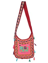 Rajrang Bags For Womens Elephant Printed Cotton Embroidered Work Pink Sling Bag