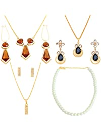Touchstone Benevolent Cool Gold Plated Multicolour Collection Of Three Pendant Set And A Faux Pearl String