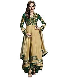 Maruti Creation Women's Georgette Semi-stitched Anarkali Suit Dress Material (MC1022A_FREE_SIZE_GREEN)