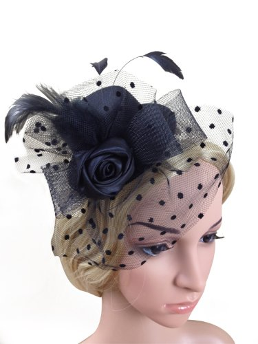 Fascinator Structured Felt Hat with Feather Bow Net and Flower on Clip