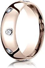 Benchmark 14K Rose Gold 6mm Comfort-Fit Burnish Set 8-Stone Diamond Eternity Wedding Band Ring 032 c
