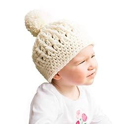 Melondipity Pretty Pom Pom Baby Girl Hat - Beautiful, Premium Crochet Beanie Ivory (12 - 24 Months)