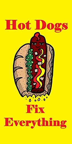 """""""Hot Dogs Fix Everything"""" Food Humor Cartoon - Plywood Wood Print Poster Wall Art front-285964"""