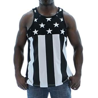 Amazon.com: Hudson Black and White American Flag Tank Top: Clothing