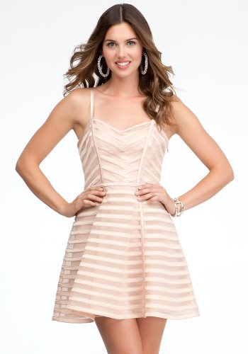 bebe Striped Binded Fit &Flare Dress Spcl Events/eve Dresses Rose Dust-8