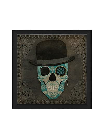 The Artwork Factory Sugar Skull With Hat Blue Print