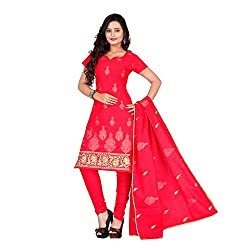 Vardhman Synthetics Women's Embroidered Unstitched Dress Material (Gajari_Free Size)