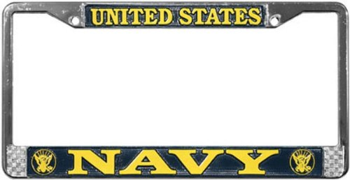 US Navy License Plate Frame (Chrome Metal) (License Plate Frames Military compare prices)
