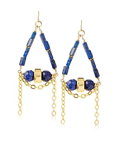 MINU Jewels Blue Stone Earrings with Gold Chain