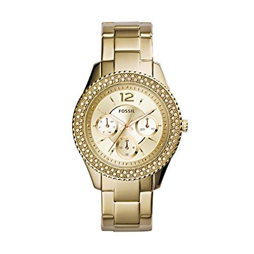 Fossil ES3589 - Reloj para mujeres, correa de acero inoxidable chapado color dorado