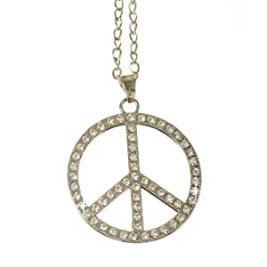 Jewellery of Lords Silver Plated Big Bling CND Peace No Nuke Pendant Hip Hop Rapper Chain Necklace