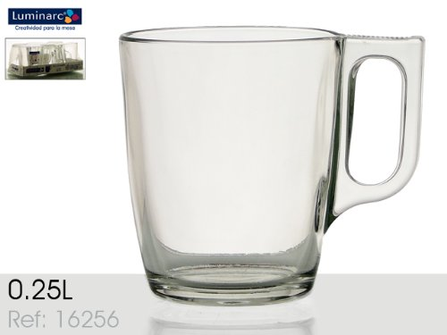 Luminarc Set of 4 Nuevo Glass Mugs For Hot Drink Coffee Mug Clear and High Quality Glass Tea Cups (25cl/8.25oz) H5829 (Luminarc Coffee Cup compare prices)