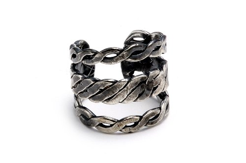Sterling Silver .925 Three Braided Band Antiqued Finish Design Ear Cuff Wrap Include Special Gift Pouch.