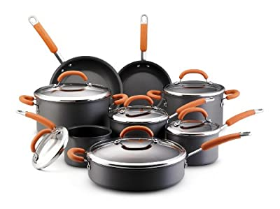 Rachael Ray Hard Anodized Nonstick 14-Piece Cookware Set, Orange