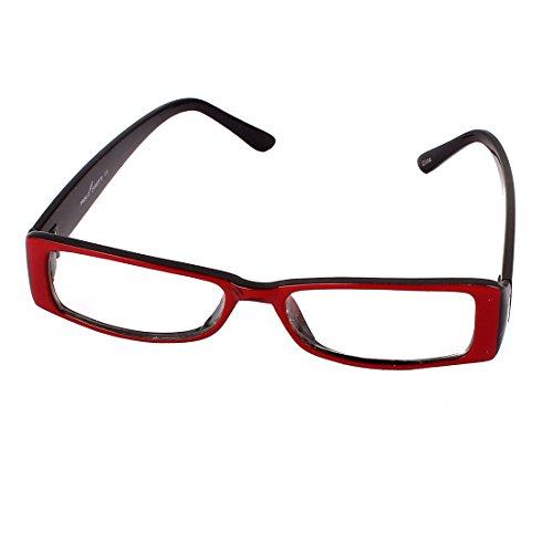 Rectangle Slim Frame Clear Lens Spectacles Eyewear Glasses Red Black