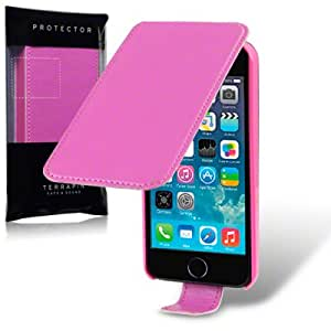 Terrapin Premium PU Leather Flip Case for iPhone 5S - Hot Pink