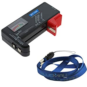 GTMax Universal Battery Tester for AA/AAA/C/D/9V/Button Cell Batteries - Black Pakage included Universal Blue Neck Strap Lanyard