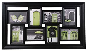 Kiera Grace Montage 15-1/2 by 27-Inch Collage Frame, Holds 8 4 by 6-Inch Photos, Black