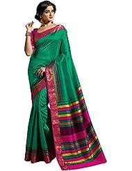Ashika Women's Raw Silk Saree (STHASKDS01, Green)
