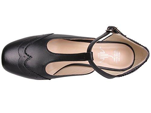 Vijiv Women's Teardrop Cut Out T-Strap Mid Heel Dress Pumps 3