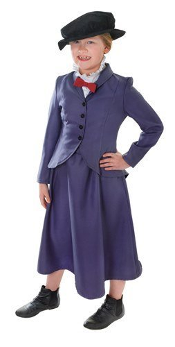 [Mary Poppins Victorian Nanny Childs Fancy Dress Costume - M 134cms by Parties Unwrapped] (Mary Poppins Costume Child)