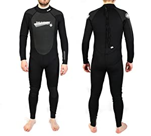 SUPAFLEX II Mens Adults Wetsuit Full Length 3/2mm (Black, 4XL)