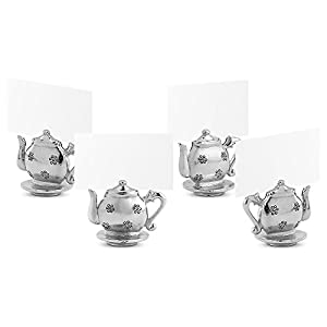 Silver Tone Tiny Teapot Kettle Name Place Card Holders For Tables