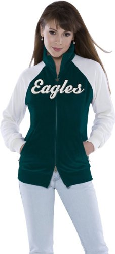 Philadelphia Eagles Women's Full Zip Velour Cheer Jacket - Touch By Alyssa Milano at Amazon.com