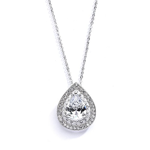 Mariell-Micro-Pave-CZ-Framed-Pear-Shaped-Solitaire-Necklace-Pendant-Designer-Vintage-Bridal-Jewelry