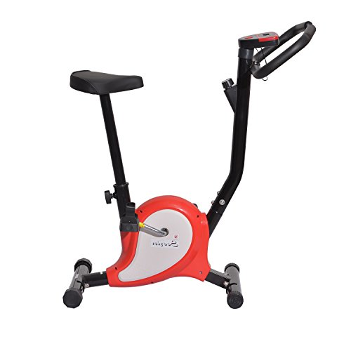 Soozier Indoor Upright Stationary Belt Exercise Bike - Black and Red
