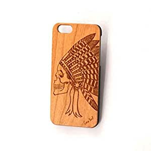 Custom Engraved Indian Chief Skull Wood Case For iPhone 5/5s, iPhone 6/6s and iPhone 6 Plus / 6s Plus (iPhone 6/6s)