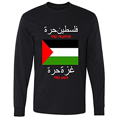 Free Palestine Gaza Arabic Writing Flag Long Sleeve T-Shirt