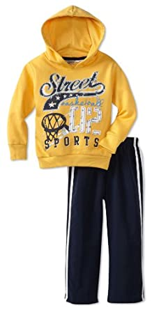 Little Rebels Little Boys' 2 Piece Street Basketball Microfiber Set, Medium Yellow, 3T