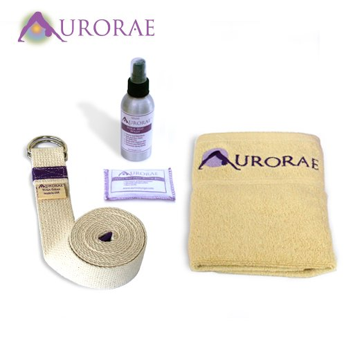 Aurorae Slip Free, Wash and Stretch Value Package (Slip Free Rosin Bag, Sport Sweat Towel,Organic Mat Wash and 8-Foot Yoga Strap) Great yoga accessories with Aurorae's Yoga Mats